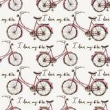 Sömlöst med hand drog cyklar Royaltyfri Bild