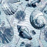 Sömlöst med havsskalet Arkivbild