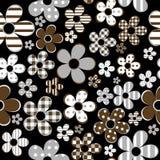 Sömlöst med mönstrade blommor över svart bakgrund stock illustrationer