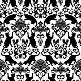 Sömlöst med svarta katter damast stock illustrationer