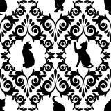 Sömlöst med svarta katter damast royaltyfri illustrationer