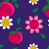 Sömlöst modelläpple och blommabakgrund Royaltyfri Foto