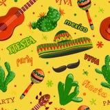 Sömlöst modellFiestaparti med den mexikanska gitarren, maracas, sombreron, mustaschen och kakturs vektor illustrationer