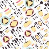 Sömlöst modellredskap Kökpersonalen pläterar, koppar, bestick och teservisen eps10 blommar yellow för wallpaper för vektor för kl Royaltyfri Foto