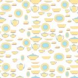 Sömlöst modellredskap Kökpersonalen pläterar, koppar, bestick och teservisen eps10 blommar yellow för wallpaper för vektor för kl Royaltyfria Bilder
