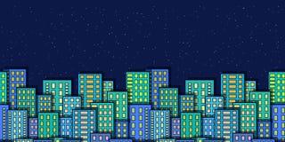 Sömlöst nattstadslandskap Arkivfoton