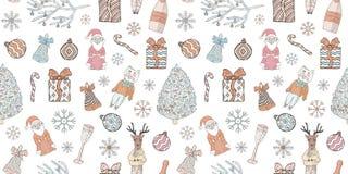 Sömlöst nytt år och julmodell Klotter på en vit bakgrund stock illustrationer
