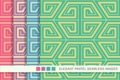 Sömlöst pastellfärgat kors för spiral för geometri för bakgrundsuppsättningpolygon royaltyfri illustrationer