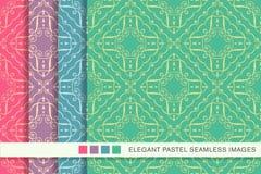 Sömlöst pastellfärgat kors F för virvel för spiral för kurva för bakgrundsuppsättningkontroll stock illustrationer