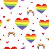 Sömlöst patttern för vektor med regnbågehjärtor Pride Day vektor illustrationer