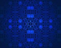 Sömlöst prydnadmörker - blått och svart Arkivfoton