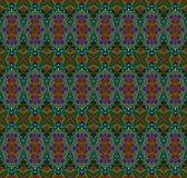 Sömlöst prydnadmörker - grön röd lila Arkivfoton