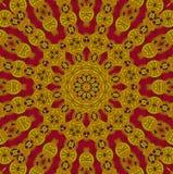 Sömlöst rött centrerat för gul guld för prydnad royaltyfri illustrationer