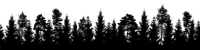 Sömlöst skogvektorlandskap med barrträd i svart Arkivfoton