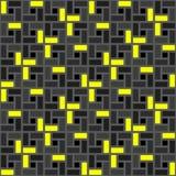 Sömlöst smattrande för svart gul textur för tegelstenspiraltegelplatta medurs Stock Illustrationer