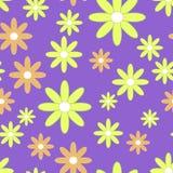 Sömlöst smattrande för vektor med plana blommor Bakgrund med gula och orange kamomillar royaltyfri illustrationer