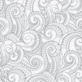 Sömlöst svartvitt abstrakt begrepp hand-dragen modell, vågor tillbaka stock illustrationer