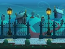 Sömlöst tecknad filmnattlandskap, med gravar och kryptor, oupphörlig bakgrund för vektor med avskilda lager stock illustrationer
