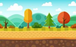 Sömlöst tecknad filmnaturlandskap I lager jordning, gräs, träd Arkivfoto