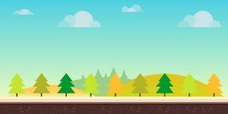 Sömlöst tecknad filmnaturlandskap Kullar, träd, moln och himmel, bakgrund för mobila applikationer för lekar och datorer stock illustrationer