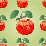 Sömlöst texturäpple med bladvektorn Royaltyfria Foton