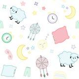 sömn dröm Sömlös modell med månehalvmånformig och stjärnor, p stock illustrationer