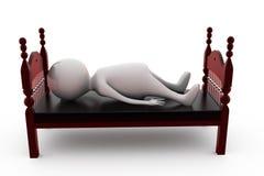 sömn för man 3d i sängbegrepp Arkivbild