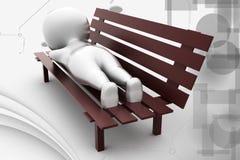 sömn för man 3d på bänkillustration Arkivbild