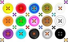 Sömnadsamling av knappar för kläder, konsthantverk i olika ljusa färger Mode- och handarbeteuppsättning stock illustrationer