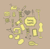 Sömnadtillbehörklotter stock illustrationer