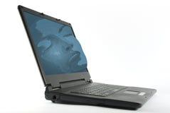 sömnig bärbar dator royaltyfria bilder