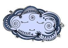Sömnig molnklotterillustration Royaltyfri Illustrationer