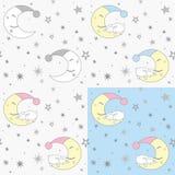 Sömniga får för gullig liten Kawaii stil som sover på uppsättning för modell Crescent Moon och för stjärnor för ljusa färger söml royaltyfri illustrationer