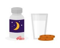 Sömntabletter för illustration för sömnsymbolsvektor mjölkar den ljusbruna flaskan för exponeringsglaskakor stock illustrationer