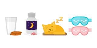 Sömntabletter för illustration för sömnsymbolsvektor mjölkar den ljusbruna flaskan för exponeringsglaskakor som sover kattögonbin royaltyfri illustrationer