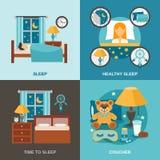 SömnTid lägenhet stock illustrationer