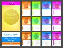 söndag startkalender 2019 Vertikal vektordesign royaltyfri illustrationer