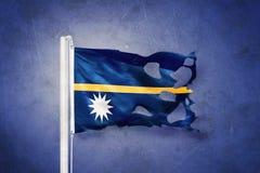 Sönderriven flagga av det Nauru flyget mot grungebakgrund royaltyfri illustrationer