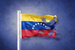 Sönderriven flagga av det Venezuela flyget mot grungebakgrund Fotografering för Bildbyråer