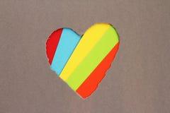 Sönderriven hjärta i papper Fotografering för Bildbyråer