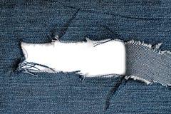 Sönderriven jeanstextur Royaltyfri Bild