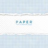 Sönderriven kant av blått kvadrerat papper Sönderrivet stycke av kvadrerat papper från anteckningsboken Tom sida som isoleras på  stock illustrationer
