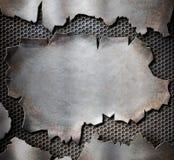 Sönderriven metallplatta för Grunge som ångapunkrockbakgrund stock illustrationer