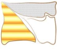Sönderriven ramsammansättning från den svartvita prydnaden, gul gummibakgrund och tom ram royaltyfri illustrationer