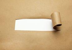 Sönderrivet brunt papper med tomt utrymme Fotografering för Bildbyråer
