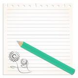 Sönderrivet från en notepadsida med blyertspennan och blyertspennateckningen Royaltyfria Bilder