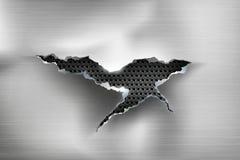 Sönderrivet hål i rivit sönder stål på metall stock illustrationer