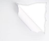 Sönderrivet pappers- ark med ett tomt mellanrumshål Royaltyfri Bild