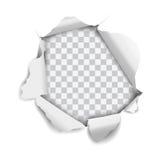 Sönderrivet realistiskt hål för vektor i papper som isoleras på vit bakgrund Royaltyfri Fotografi