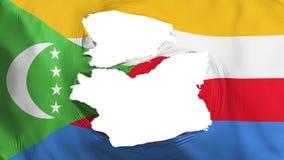 Söndersliten Comoros flagga royaltyfri illustrationer